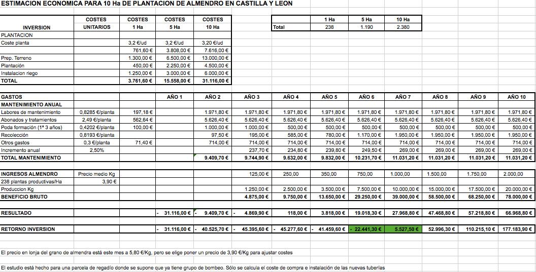 Estudio económico plantación de almendros para 10ha